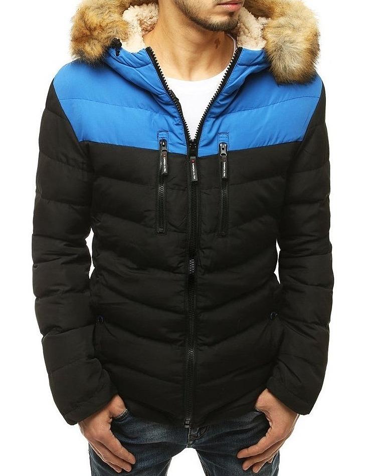 Modro-čierna pánska zimná bunda s kožušinkou vel. M
