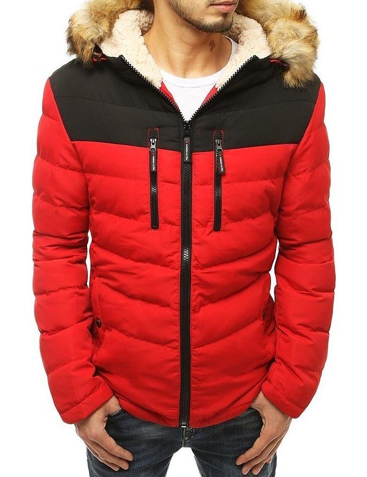 červeno-čierna pánska zimná bunda s kožušinkou vel. XL