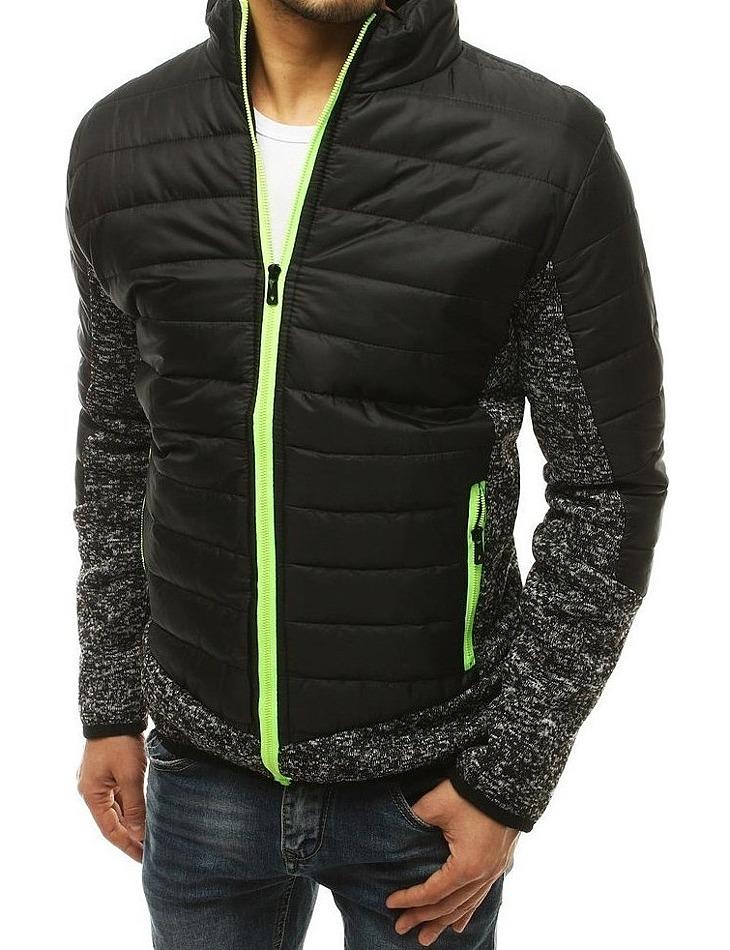čierna pánska prešívaná bunda so zeleným zipsom vel. M