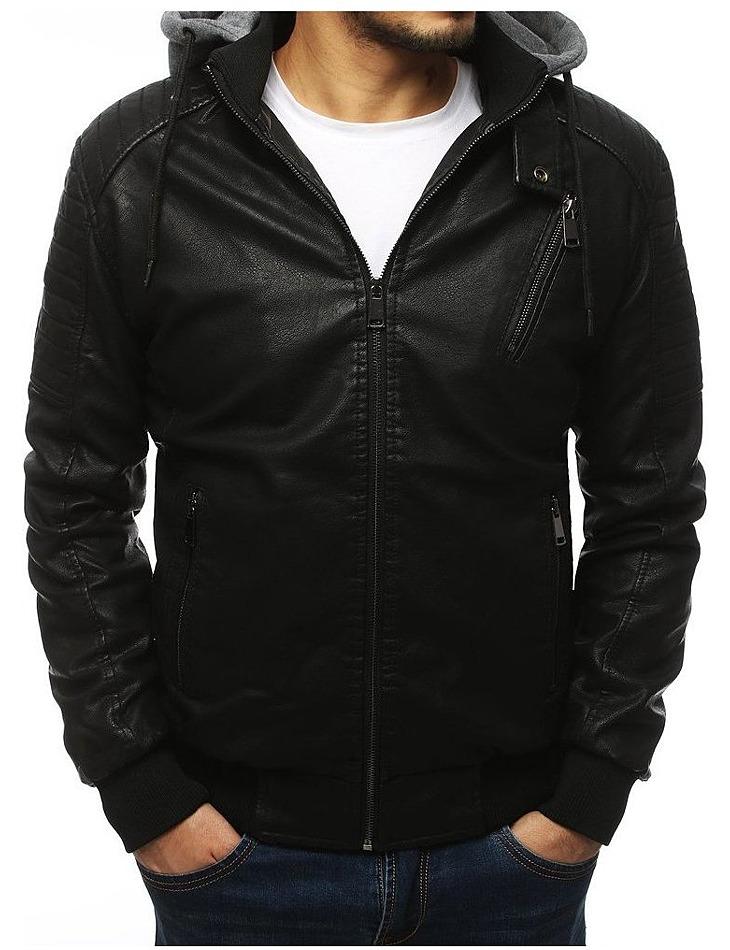 Pánska čierna bunda s kapucňou vel. M
