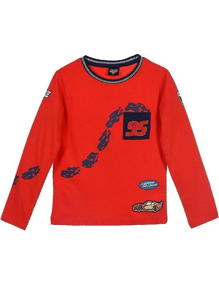 Cars chlapčenské červené tričko s dlhým rukávom vel. 104