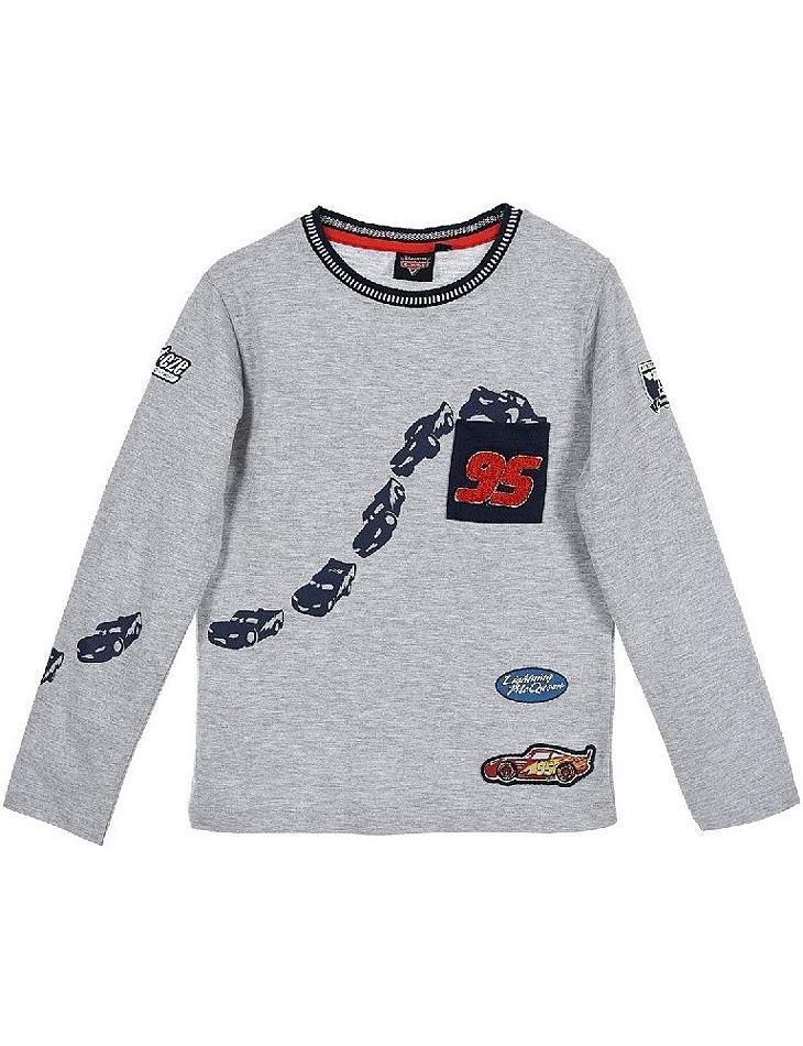 Cars chlapčenské sivé tričko s dlhým rukávom vel. 104