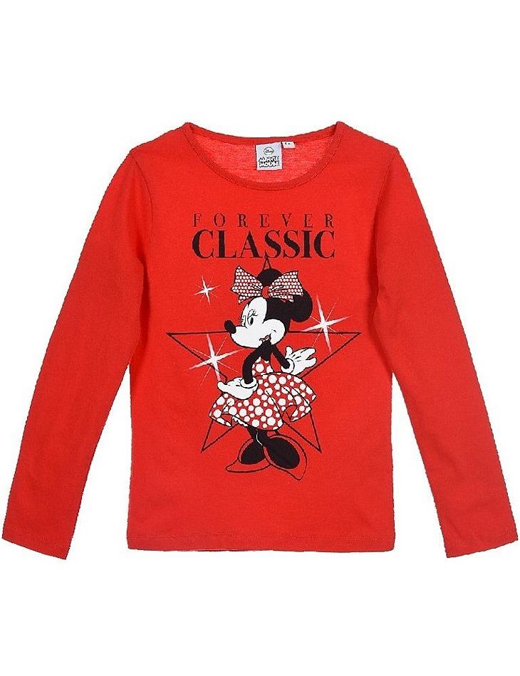 Minnie mouse červené dievčenské tričko s dlhým rukávom vel. 98