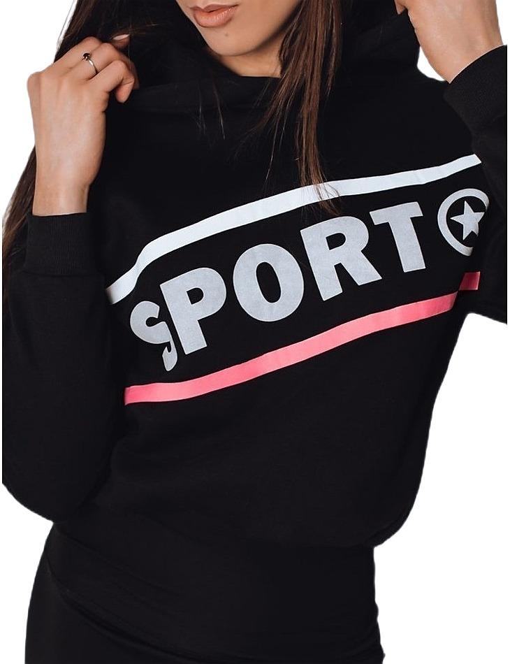 čierna dámska mikina s nápisom šport vel. XL
