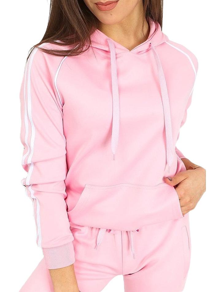 Ružová dámska mikina s pruhmi vel. XL