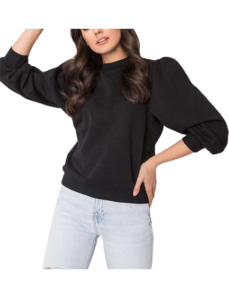čierna dámska mikina s naberanými rukávmi vel. XL