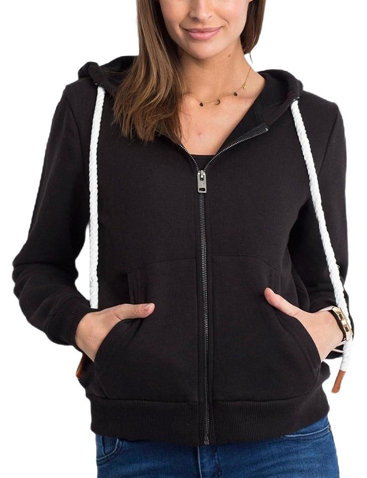 Dámska čierna mikina na zips s kapucňou vel. XL
