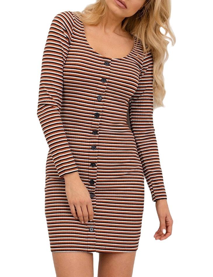 Svetlo-hnedé dámske šaty pruhované vel. XS