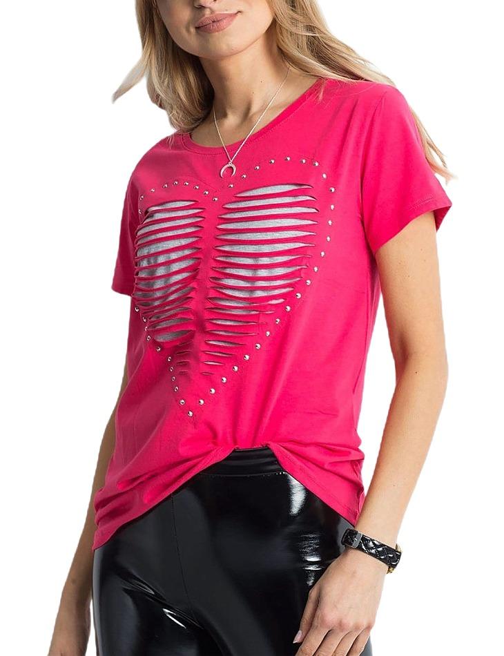 Dámske ružové tričko s motívom srdca vel. ONE SIZE