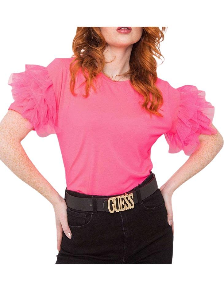Neónovo ružové dámske tričko s volánmi vel. M