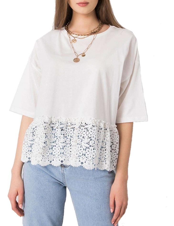 Biele dámske tričko s čipkou vel. ONE SIZE