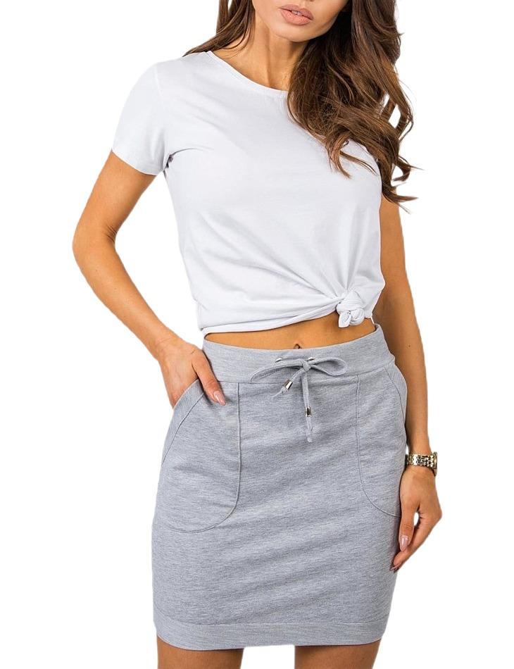 šedá dámska sukňa s vreckami a viazaním vel. XL