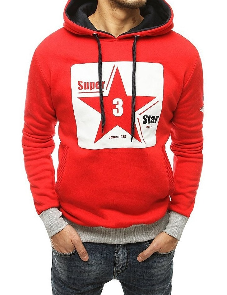 červená pánska mikina s potlačou hviezdy vel. 2XL