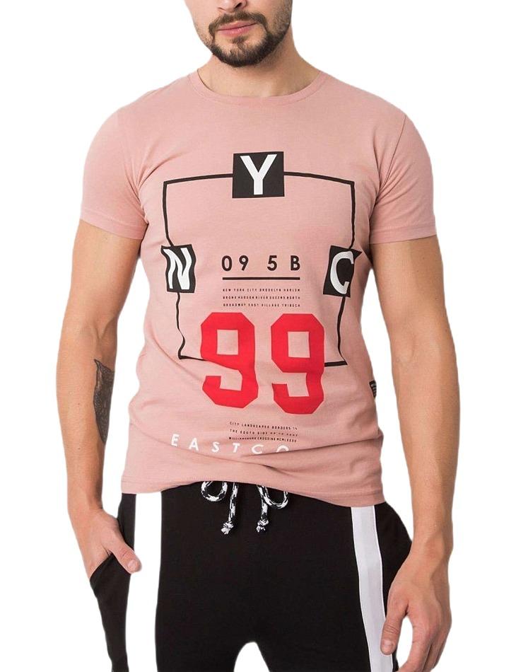 Ružové pánske tričko s potlačou vel. S