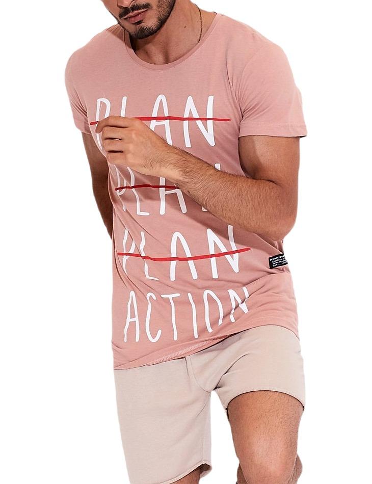 Ružové pánske tričko plan vel. S