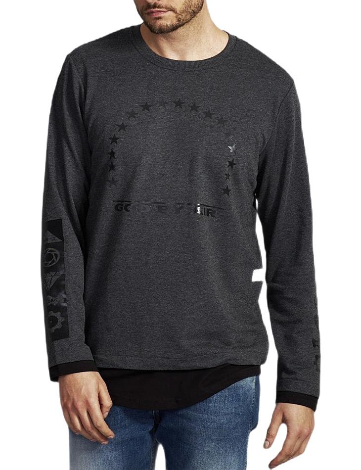 šedo-čierne tričko s potlačou vel. L
