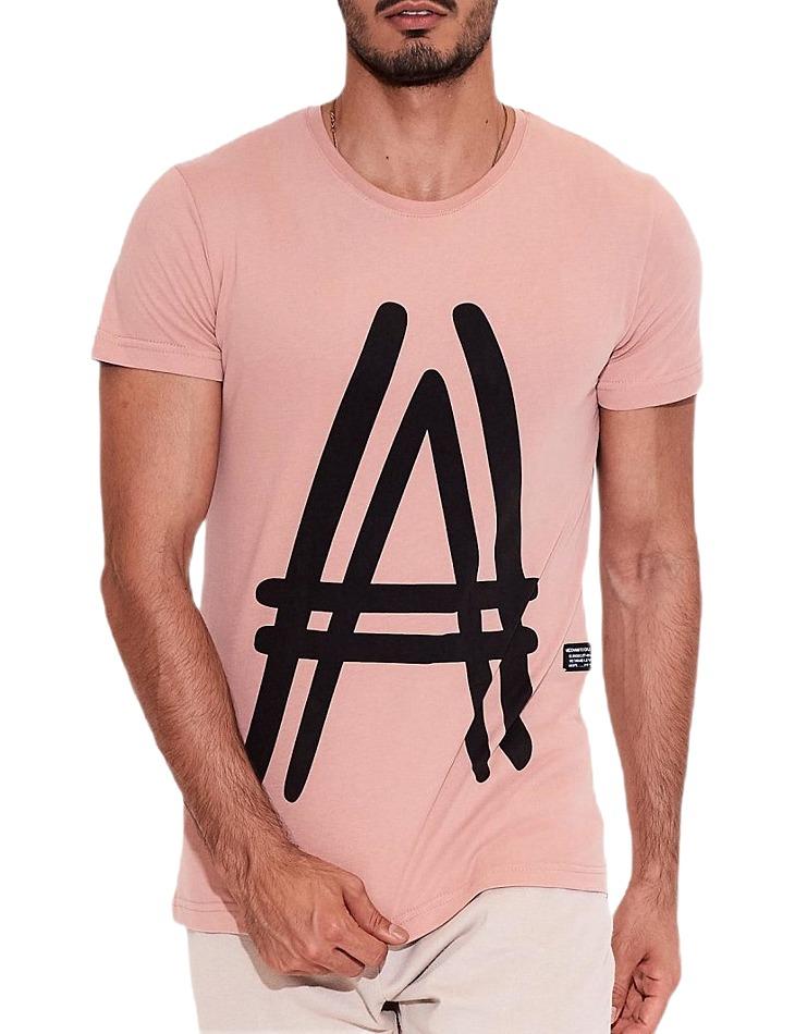 Ružové pánske tričko s potlačou a vel. S
