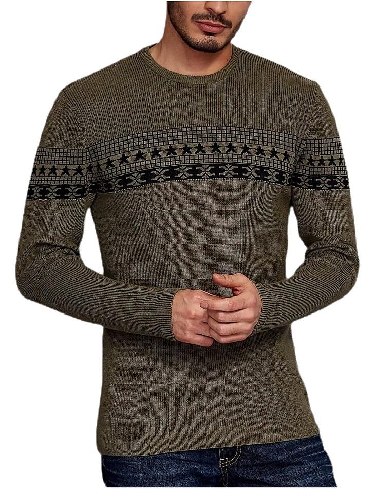 Khaki pulóver so vzorom vel. M