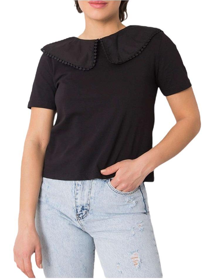 čierne dámske tričko s golierom vel. S