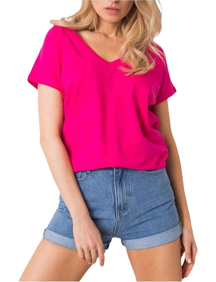 Ružové dámske tričko s výstrihom vel. XL
