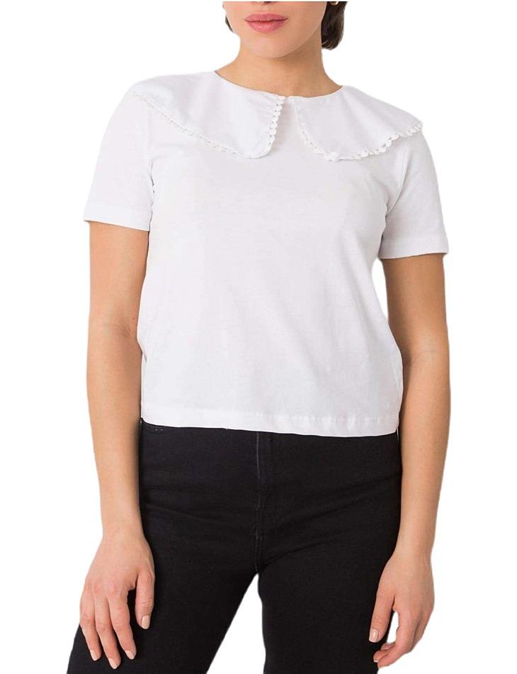 Biele dámske tričko s golierom vel. S