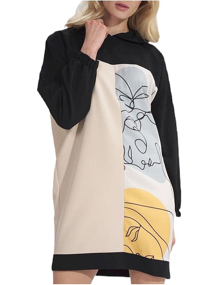 Béžovo-čierne mikinové šaty M755 black-beige + pattern vel. L/XL