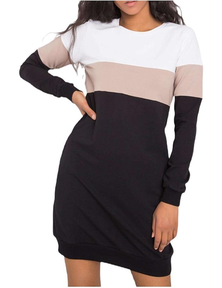 čierno-biele dámske mikinové šaty vel. L