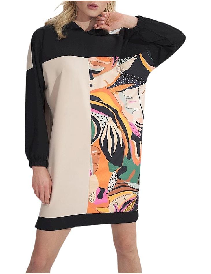 čierno-béžové mikinové šaty M755 black-beige + pattern vel. L/XL