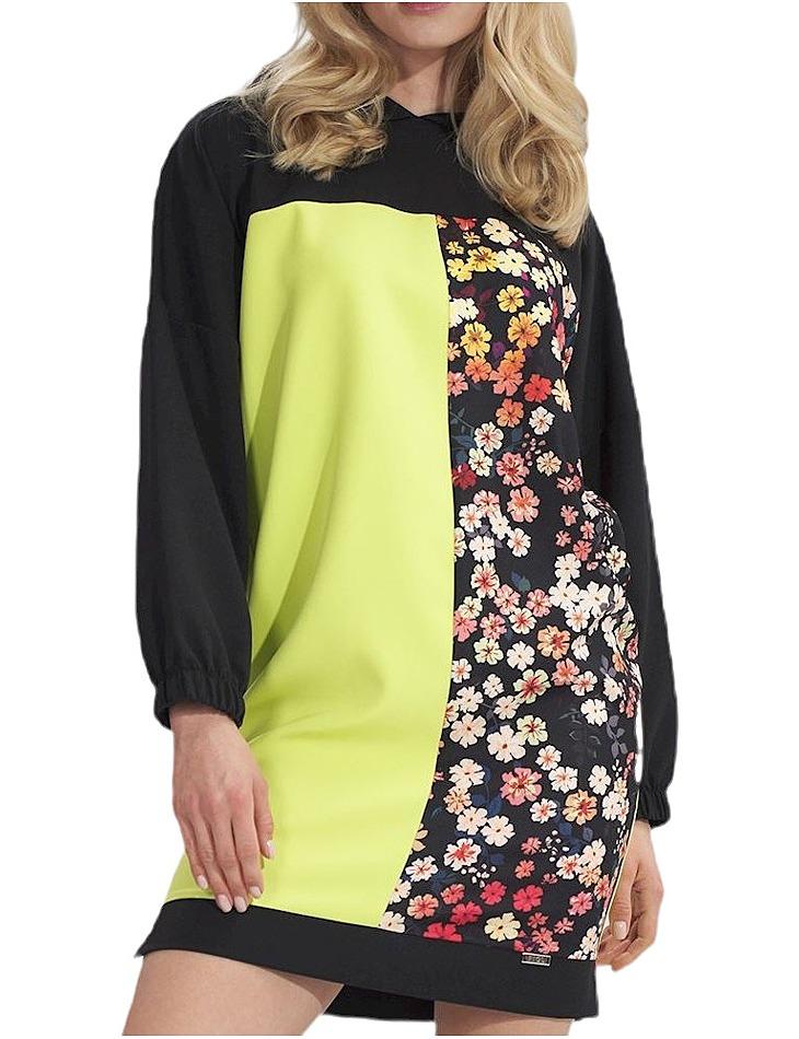 čierno-limetkovej mikinové šaty M755 black-lime + pattern vel. L/XL