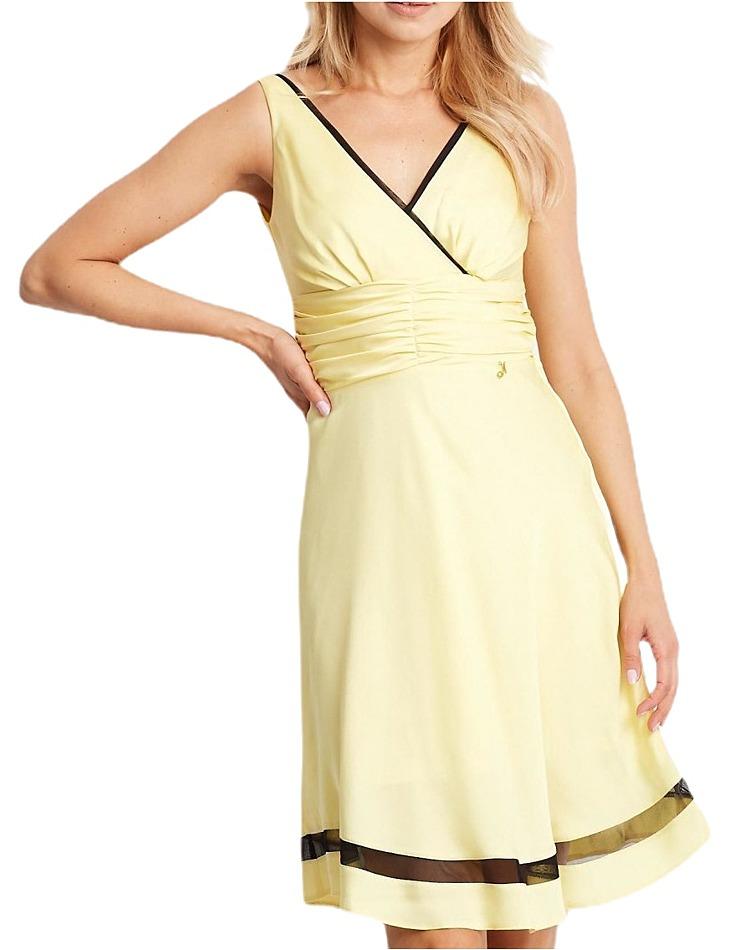 Dámske žlté šaty s priesvitným čiernym pruhom vel. 36