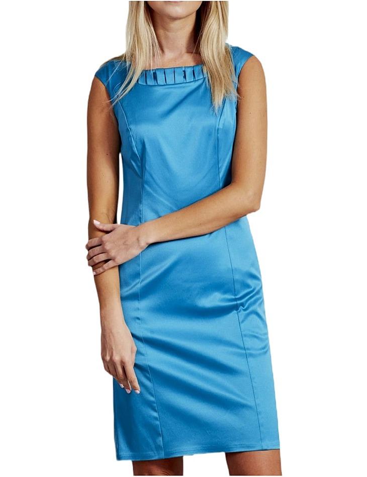 Modré dámske šaty lesklé vel. 38