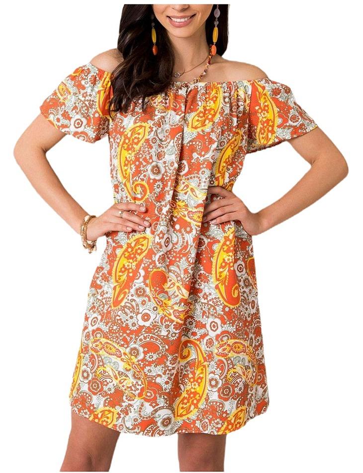 Dámske oranžové šaty so vzorom vel. L