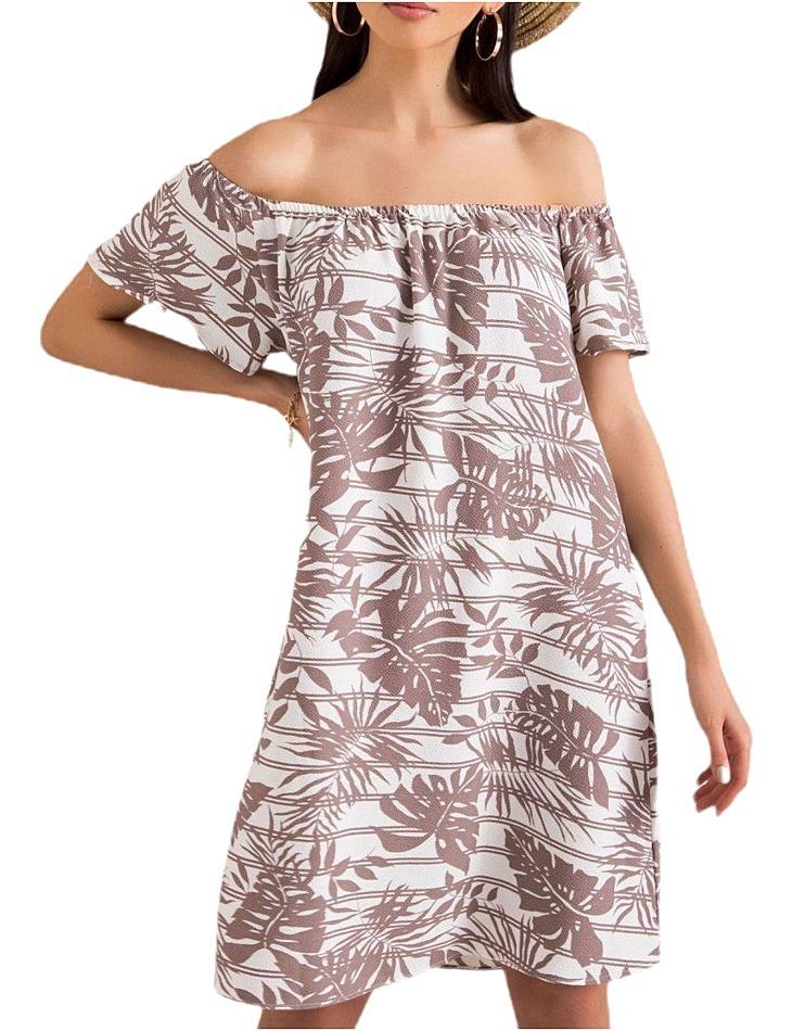Dámske béžové šaty so vzorom palmových listov vel. M