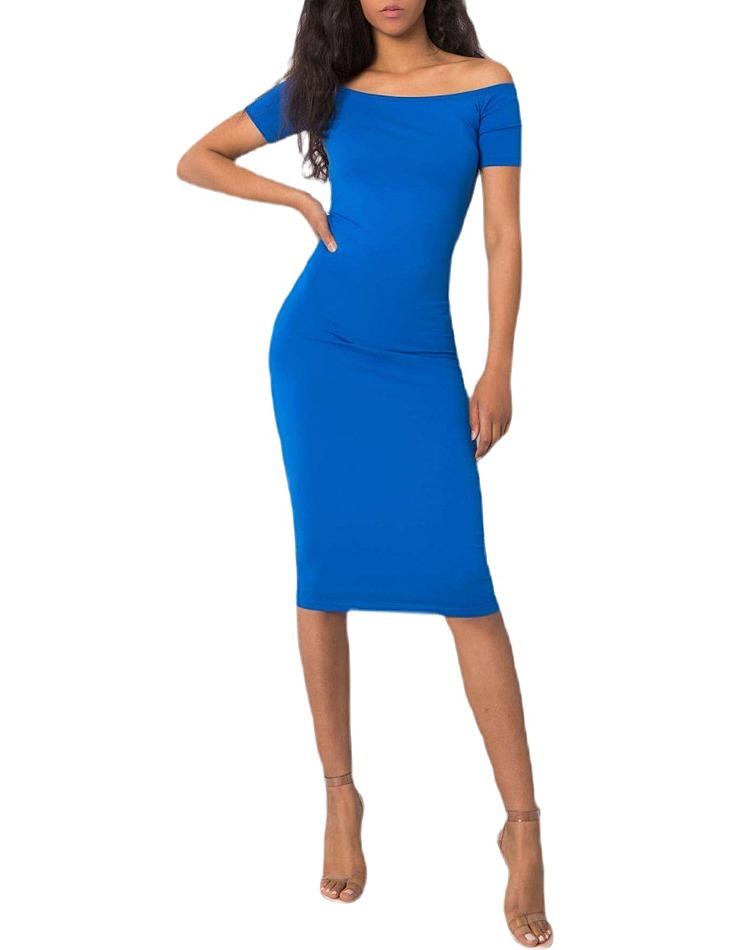 Modré dámske priliehavé šaty vel. M