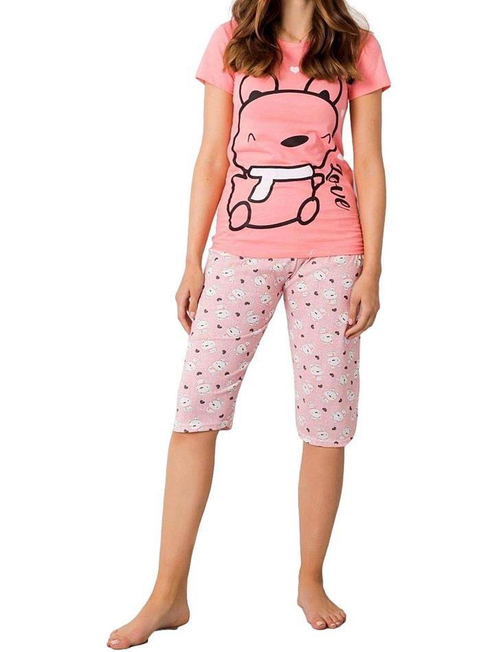 Ružové dámske pyžamo s potlačou vel. XL