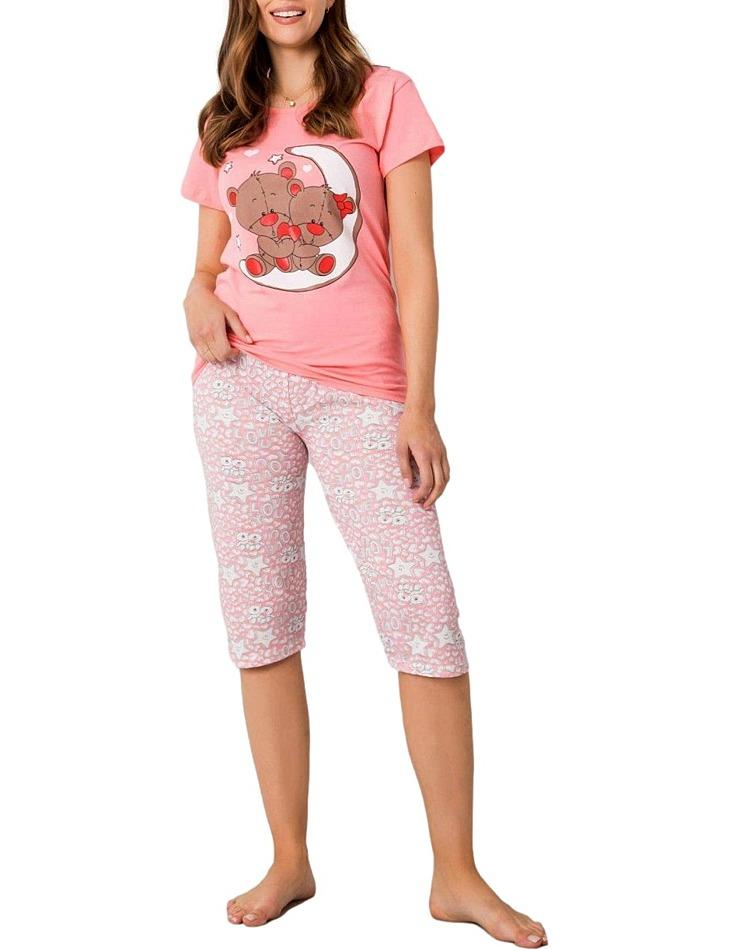 Ružové dámske pyžamo s medvedíkmi vel. XL