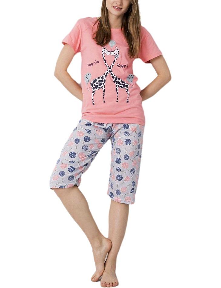 Ružové dámske pyžamo s potlačou žiráf vel. XL