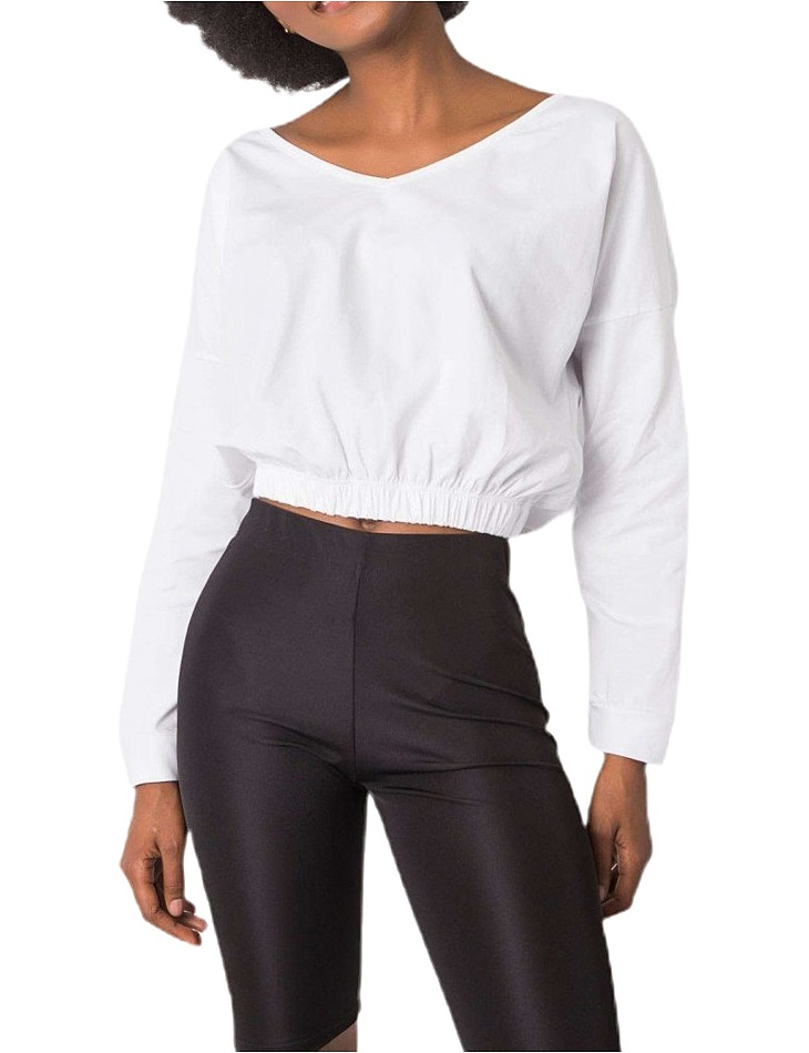 Biele dámske krátke tričko s dlhými rukávmi vel. S/M