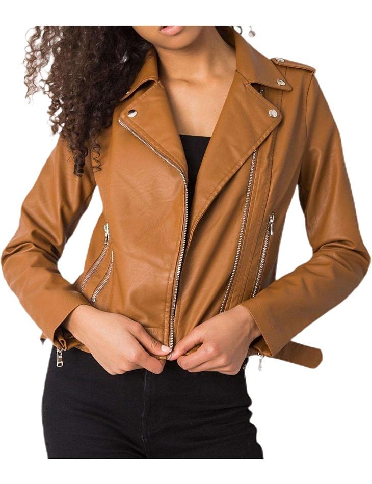 Hnedá dámska koženková bunda vel. XL
