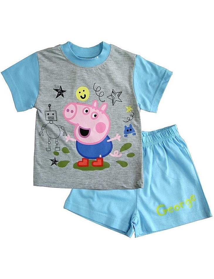 Svetlo modré krátke chlapčenské pyžamo peppa pig vel. 116