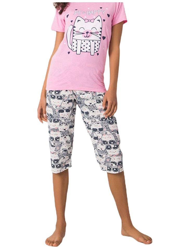 Ružové dámske pyžamo s potlačou happy vel. XL