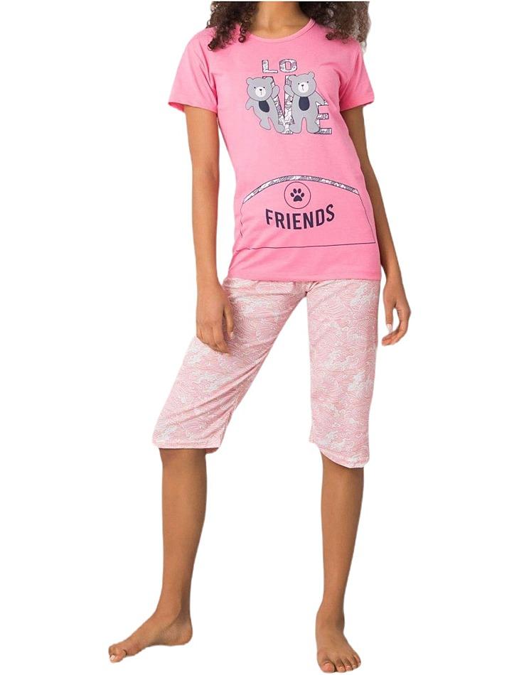 Ružové dámske pyžamo s potlačou friends vel. XL