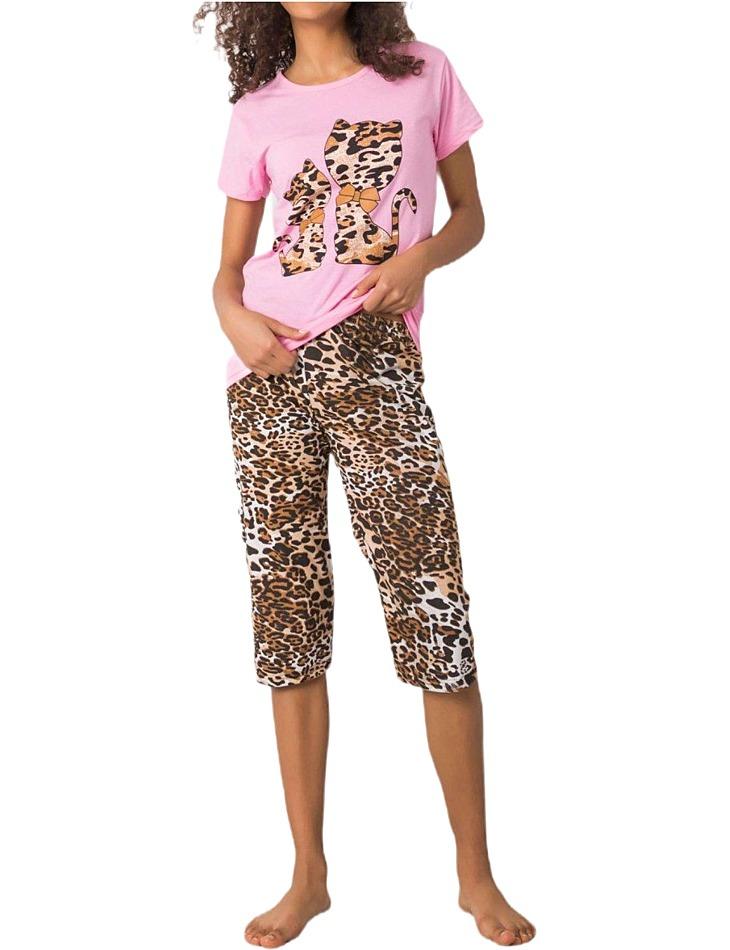 Ružové dámske pyžamo so zvieracím motívom vel. XL