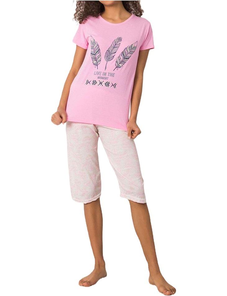 Ružové dámske pyžamo s potlačou pierok vel. XL