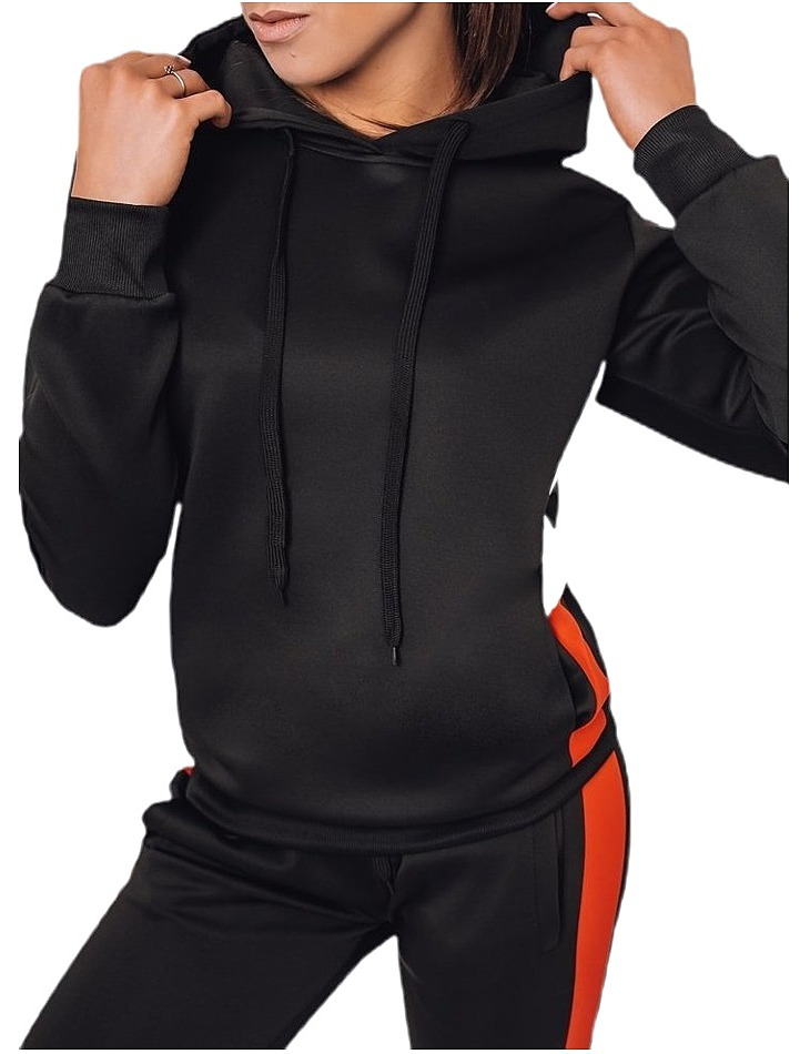 čierna dámska mikina s kapucňou a bielym pruhom vel. XL