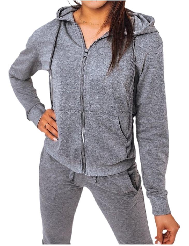 šedá dámska mikina s kapucňou na zips vel. L
