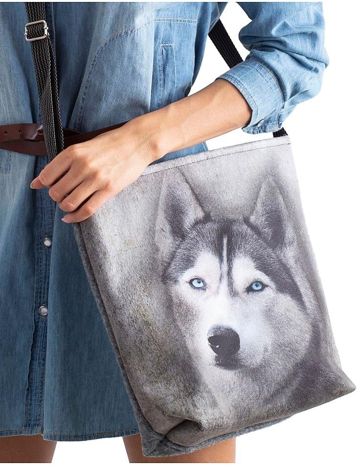 šedá crossbody taška s potlačou vlka vel. ONE SIZE