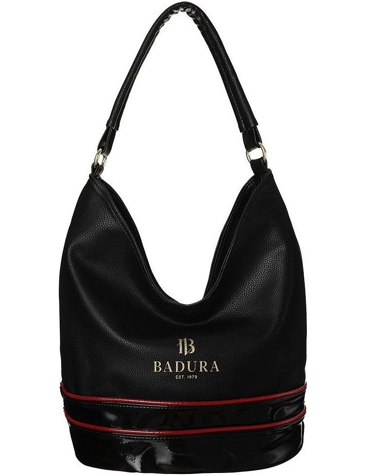 Badura čierna shopper kabelka s červenými pruhmi vel. ONE SIZE