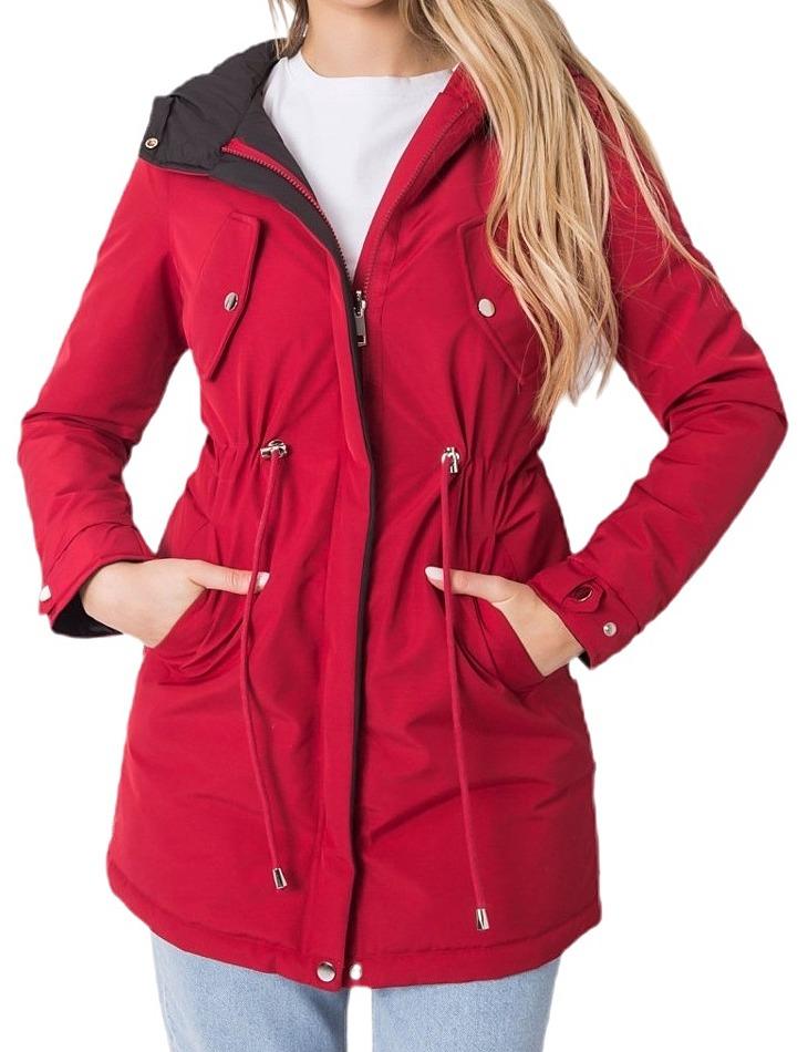 červeno-čierna obojstranná dámska zimná bunda vel. M