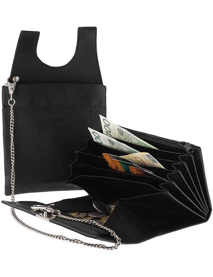 Cavaldi čierna čašnícka peňaženka z prírodnej kože vel. ONE SIZE